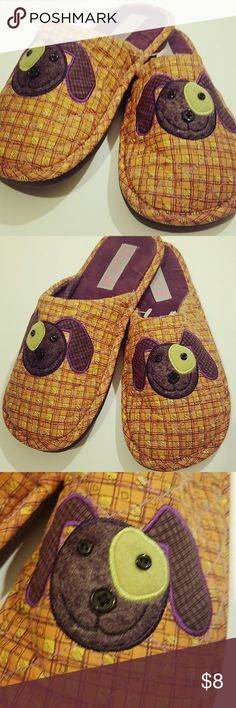 fdc2db87b16c Slippers at a discounted price at Poshmark. Description  Burnt orange plaid  design w  purple plaid dog. Perfect for Animal Lover.