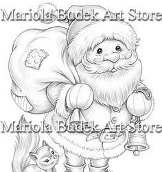 Santa Claus Mariola Budek Coloring Page Santa Coloring Pages, Christmas Coloring Pages, Animal Coloring Pages, Coloring Pages For Kids, Coloring Books, Coloring Sheets, Christmas Scenes, Christmas Colors, Etsy Christmas