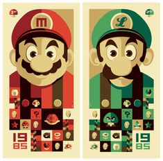 Mario and Luigi.  This is a cool spin on old school video game icons.  The widely known 8-bit characters look more in-focus and and intense in this rendition.  I dig it.