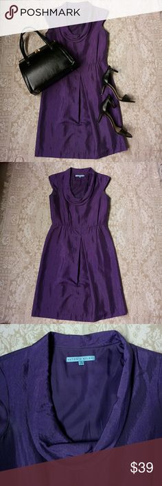 Purple Antonio Melani Dress Classic a line dress with a quilted pattern and cowl detail around the neck. This would be absolutely beautiful worn to a wedding. Side zipper closure. ANTONIO MELANI Dresses Midi