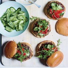 These rich lamb burgers with onion soup aioli get nice crunch from quick-pickled cucumbers. Get the recipe at Food & Wine. Wine Recipes, Cooking Recipes, Onion Burger, Food Porn, Lamb Burgers, Quick Pickled Cucumbers, Fried Shallots, Good Burger, Onion Soup