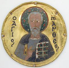 Medallion with Saint Matthew from an Icon Frame Date: ca. 1100 Geography: Made in, Constantinople Culture: Byzantine Medium: Cloisonné enamel, gold Dimensions: Diam: 3 1/4 in. (8.3 cm) Mount: 20 1/2 x 15 x 7/8 in. (52.1 x 38.1 x 2.2 cm) Accession Number: 17.190.672 The Metropolitan Museum of Art