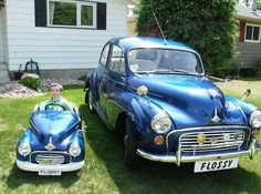 Morris Minor pedal car and the real thing Morris Minor, Classic Cars British, British Car, Morris Traveller, Car Pictures, Funny Pictures, Kids Bicycle, Fancy Cars, Pedal Cars