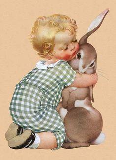 Мальчик Обнимая Кролик - Поздравительная открытка | Дружба открытки https://laughingelephant.com/02225g/