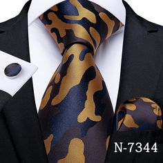Gold Fashion, Luxury Fashion, Formal Fashion, Men's Fashion, Mens Ties Crafts, Wedding Ties, Party Wedding, Mens Silk Ties, Cufflink Set