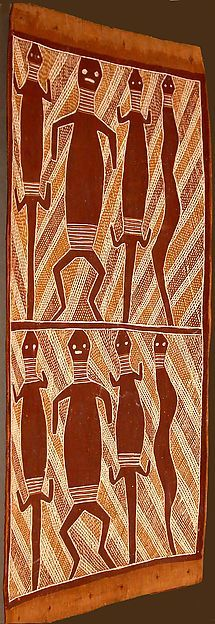 """""""Bark Painting"""" (ca. mid 20th century). Australia, Arnhem Land, Northern Territory, Yirrkala peoles. Bark, Paint. The Michael C. Rockefeller Memorial Collection, Gift of Mrs. Shirley Curson-Weiss, in memory of Arthur Weiss, 1975. Posted on metmuseum.org. Solomon Islands, Aboriginal Art, Australia, Culture, History, Painting, Collection, Painting Art, Paintings"""