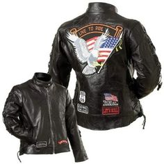 B&F System GFLADLTRS Diamond Plate Ladies Rock Design Genuine Buffalo Leather Motorcycle Jacket