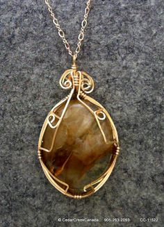Watermelon Jasper Wire Wrapped Cabochon w/ 14/20 Gold Filled Wire on 14/20 Gold Filled 2mm Chain                     CC-11522