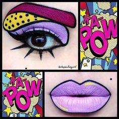 68 trendige Ideen für Pop-Art-Make-up-Halloween-Kostüme Pop Art Makeup, Crazy Makeup, Lip Art, Makeup Style, Fx Makeup, Eyebrow Makeup, Halloween Eyeshadow, Maquillaje Halloween, Halloween Face Makeup