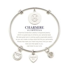 Expandable Charm Bangle Bracelets Engraved 'The Love Between A Mother and Daughter Knows No Distance' Inspirational Jewelry Gift for Mothers Day, Christmas Day, Thanksgiving Day and Birthday >>> Be sure to check out this awesome product. (This is an affiliate link) #ILoveJewelry