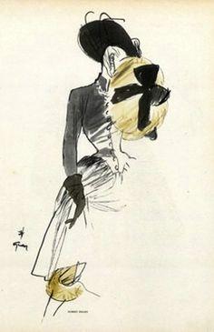 Illustration art fashion Dior Balenciaga Balmain 9faves Rene Gruau Gruau