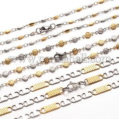 304 Stainless Steel Chain Necklaces and Bracelets Jewelry Sets with Lobster Claw Clasps Mixed Color 19.6 24x2 5mm 200 230x2 5mm