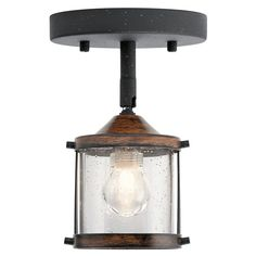Kichler Barrington 1-Light 4-in Distressed Black And Wood Dimmable Flush Mount Fixed Track Light Kit