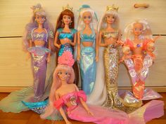 90s Mermaid Barbies group by Patty Is Totally Addicted To Barbie, via Flickr (I had the gold one)