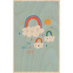 Timbergram Houten Poster 29,7 x 42 cm - Rainbow