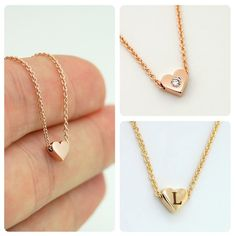 Solid Gold Heart Necklace add Diamond, add Initial, Real Gold Heart Necklace Personalized Gift P Initial Bracelet, Letter Necklace, Bar Necklace, Real Gold Jewelry, Modern Jewelry, Gold Jewellery, Heart Of Gold, Diamond Heart, Gold Letters