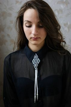 Bolo tie embroidery necklace Gift for women for men Vintage
