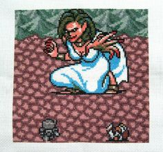 Mystic Quest cross stitch quilt square