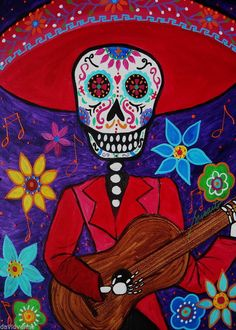 Pristine Cartera-Turkus DOD Mariachi guitar Day of the Dead  ACEO canvas Print