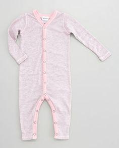 Splendid Littles Striped Snug-Fit Playsuit, Pink Ribbon - Neiman Marcus