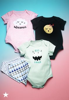 If they're still too young for toys, shop First Impressions bodysuits and bandana bibs for babies. These adorable onesies are super comfy and have cute graphic sayings. Visit macys.com for more baby outfits for your little ones.