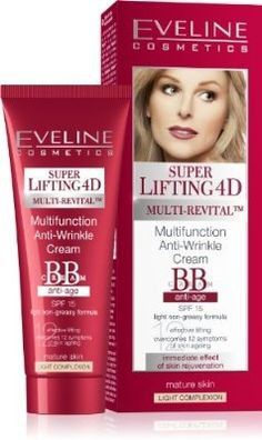 Eveline Cosmetics Lifting 4D Multifunction Anti-Wrinkle Cream BB anti-age SPF 15 LIGHT COMPLEXION - For Sale Check more at http://shipperscentral.com/wp/product/eveline-cosmetics-lifting-4d-multifunction-anti-wrinkle-cream-bb-anti-age-spf-15-light-complexion-for-sale-2/
