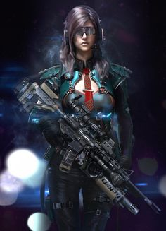 Cyberpunk Soldier Girl by Wumingyu Cyberpunk Rpg, Cyberpunk Girl, Female Character Design, Character Art, Space Warriors, Infinity Art, Future Soldier, Sci Fi Characters, Science Fiction Art