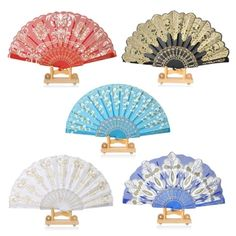 New Spanish Flamengo Plastic, Polyester Cotton Brise Style Flower Folding Hand Fan for Dance Party Wedding Gift Wall Decoration