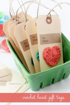 DIY Crochet Heart Gift Tags - Tutorial ❥ 4U // hf