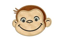 Curious George Applique Design -Monkey applique design - Instant download pattern - Digital embroidery file - 4x4 5x7 6x10 by MyMemoryDesign on Etsy