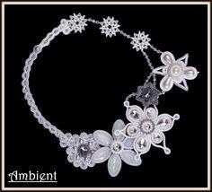 Snowflake necklace sotache and beading http://www.ambient4you.blogspot.com/2015/01/94-sniezny-post-w-nowym-roku-naszyjnik.html