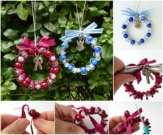 How to DIY Bead and Ribbon Wreath Christmas Ornament | www.FabArtDIY.com    #Tutorial #Christmas ornament      Follow us on Facebook ==> https://www.facebook.com/FabArtDIY
