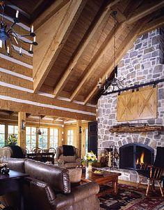tv barn doors and beautiful FIREPLACE  <3