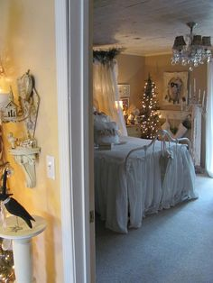 sweet shabby chic bedroom with Christmas decorations