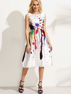 Shop White Paint Splatter Print Fit and Flare Dress at victoriaswing,  personal womens clothing online