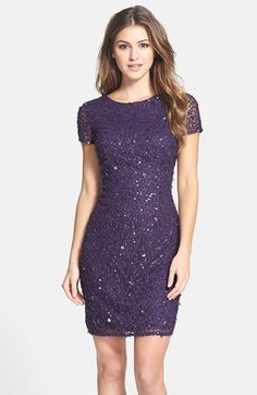 Adrianna Papell Sequin Mesh Sheath Dress (Regular & Petite) available at #Nordstrom in sizes 8, 10, 12, 16 (smaller sizes coming soon) for $198 in deep amethyst