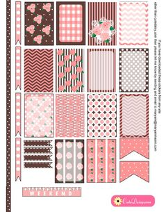 FREE Printable Shabby Chic Stickers in Pink and Lilac for Happy Planner and ECLP [ in 6 Colors ] roses, patterns and frames To Do Planner, Free Planner, Planner Layout, Planner Pages, Happy Planner, Planner Ideas, Planner Diy, Planner Bullet Journal, Decoration Stickers