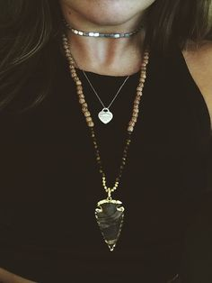 Boho Arrowhead Necklace.  *Perfect for Layering*