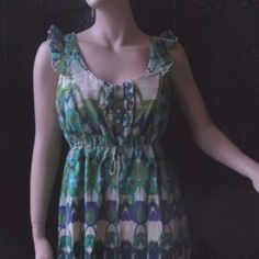 """ARYEH for ANTHROPOLOGIE  Boho Dress Sz Small Beautiful hypnotic print   Great condition-maybe worn once  Fully lined  Super comfy   Draw string at waist-for a more customized fit   Fabrication- 100%Cotton   Color- greens,beige, purple, blues & turquoise   Measurements:  Chest=34"""" Waist=18"""" Lenght =34""""  Feel free to contact me with any questions or concerns   Thank you for looking into my closet! kostkutter Anthropologie Dresses"""