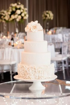 White ruffle fondant cake with floral detail for black tie wedding | DeRay & Simcoe Photographers