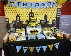 Dessert table at a Batman birthday party! See more party ideas at CatchMyParty.com!