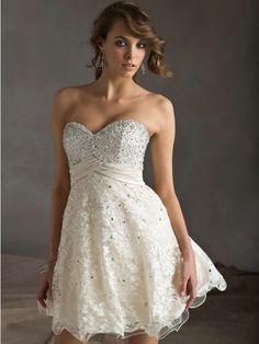 A-line/Princess Sweetheart Sleeveless Chiffon Short/Mini Lace Dresses