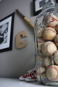Oversized Mason Jar Filled With Game Balls Cute For The Boys Room Since My Son Already Has A Bunch Of Old Baseballs This Would Be Super Easy To Do And
