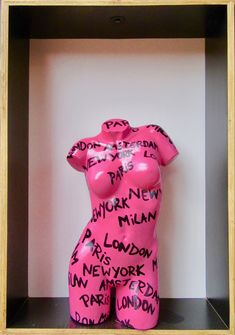Pink Mannequin Torso with Graffiti at CitizenM Hotel, Downtown NYC Art Mannequin, Mannequin Torso, Aesthetic Room Decor, Pink Aesthetic, Tattoo Studio, Graffiti Furniture, Graffiti Bedroom, Funky Furniture, Upcycled Furniture