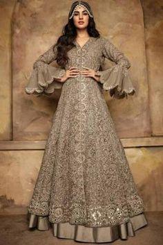 Buy Sand Beige Banglori Silk Lehenga with Net Choli Online - Robe Anarkali, Costumes Anarkali, Silk Lehenga, Indian Anarkali, Anarkali Suits, Designer Anarkali Dresses, Designer Dresses, Pakistani Outfits, Indian Outfits