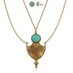 Amazon.com: Antique Goldtone Chain and Turquoise Necklace with Matching Earrings Jewelry Set: Jewelry