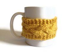 Mug Cozy Coffee Cozy Coffee Sleeve Cup Cozy Cable by MadebyMegShop, $15.00 #mustard #yellow #cupcozy #mugcozy #coffeesleeve #handknit #cabled #cableknit #coffeecozy