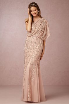 something totally different! Drapey, romantic,1-shoulder with lots of embellishments in a neutral colour