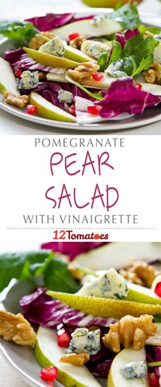Pomegranate & Pear Salad | Pears and pomegranates pair beautifully together in salad form. This sweet salad makes for a nice, light meal or starter that pairs wonderfully with a champagne or sparkling wine.
