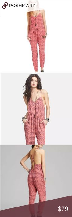 19a168eacd9 Free People Sunset Romper Tomato Red Jumpsuit M Free People Sunset Romper  Tomato Red Open Back
